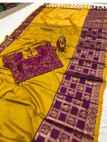 Designer Yellow Cotton Silk Saree