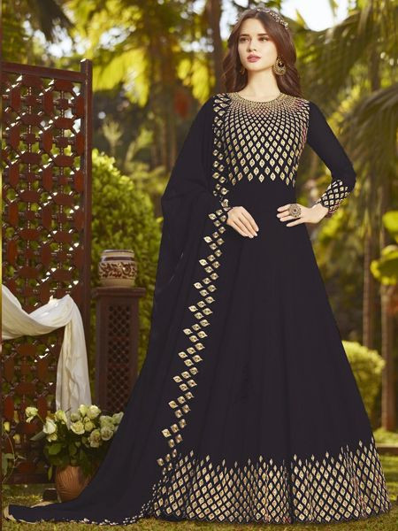 Buy Designer Black Anarkali Salwar Suit Online in India- YOYO Fashion