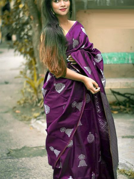 Latest Purple Soft Silk Saree