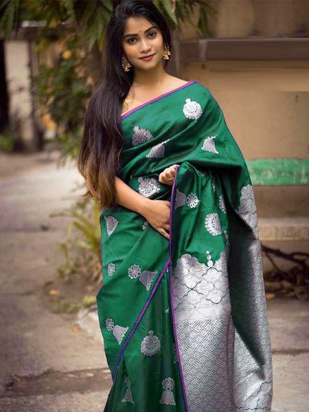 Latest Green Soft Silk Saree
