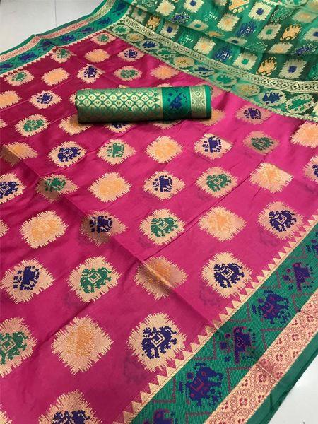 Latest Pink Patola Silk Saree