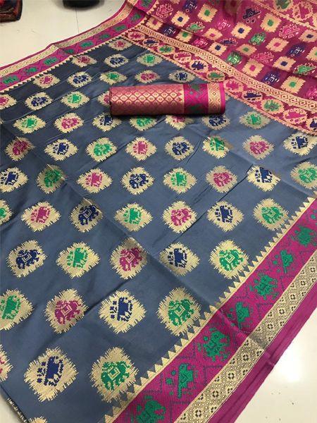 Latest Grey Patola Silk Saree