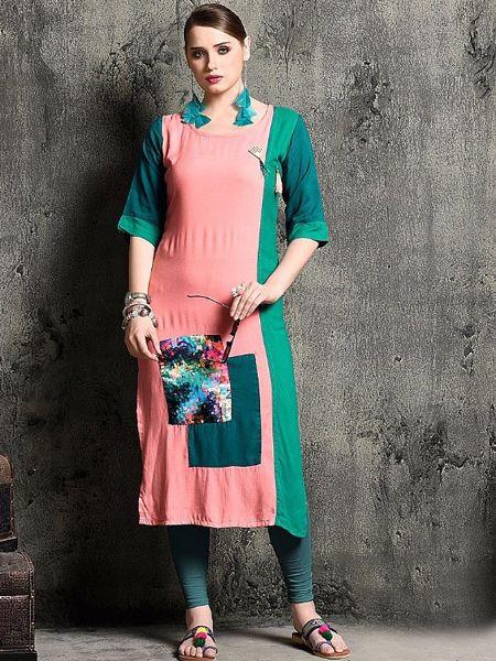 Designer Baby Pink Rayon Kurti