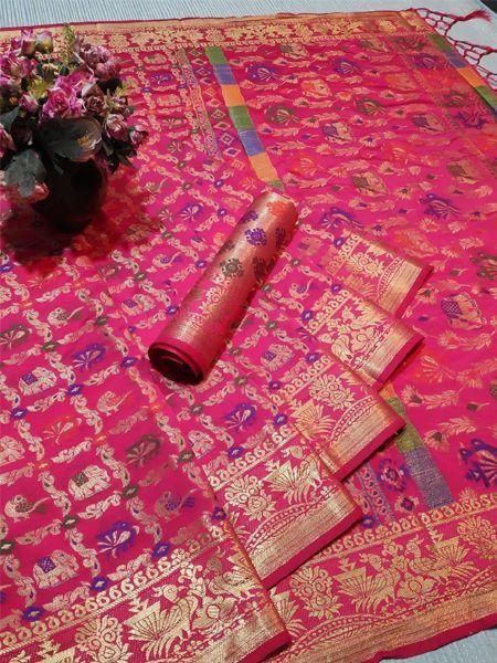 Light Pink Patola Silk Saree
