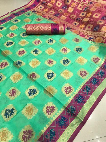 Latest Sea Green Patola Silk Saree