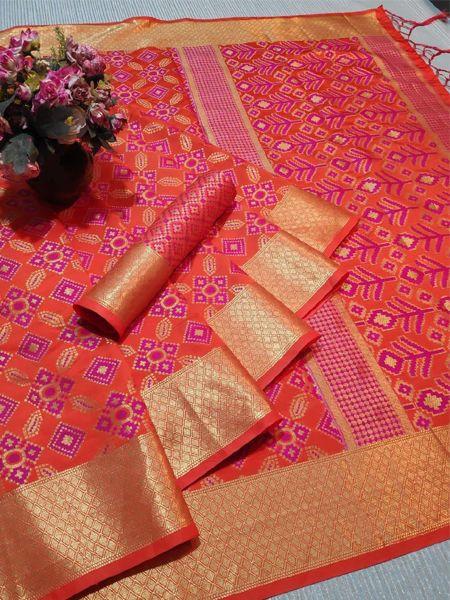 Orange Patola Silk Saree