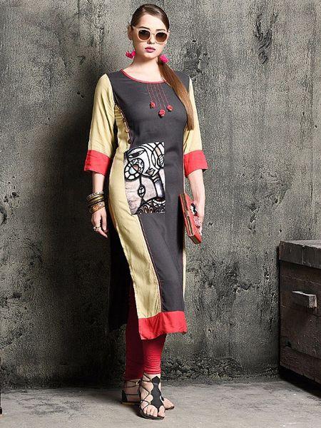 Designer Grey Rayon Kurti