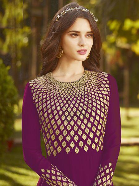 Designer Purple Anarkali Suit