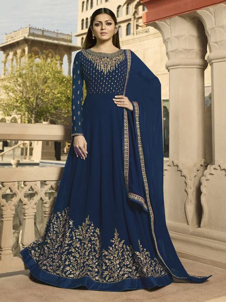 Buy Designer Navy Blue Anarkali Dress Online in India- YOYO Fashion