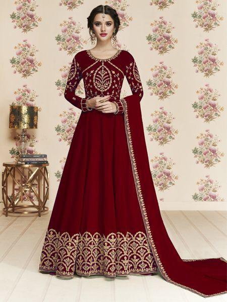Buy Latest Maroon Anarkali Dress Online in India- YOYO Fashion