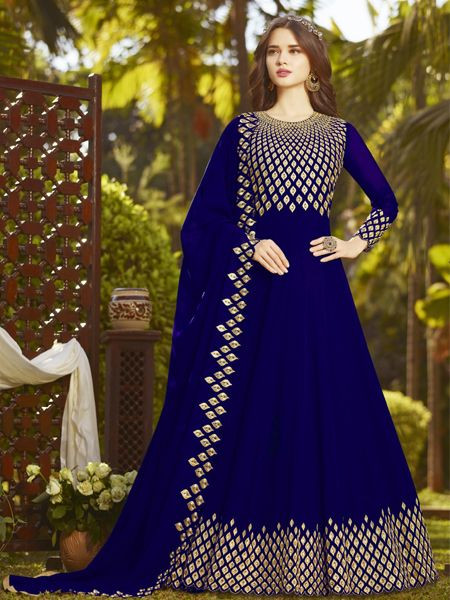 Buy Designer Blue Anarkali Suit Online in India- YOYO Fashion