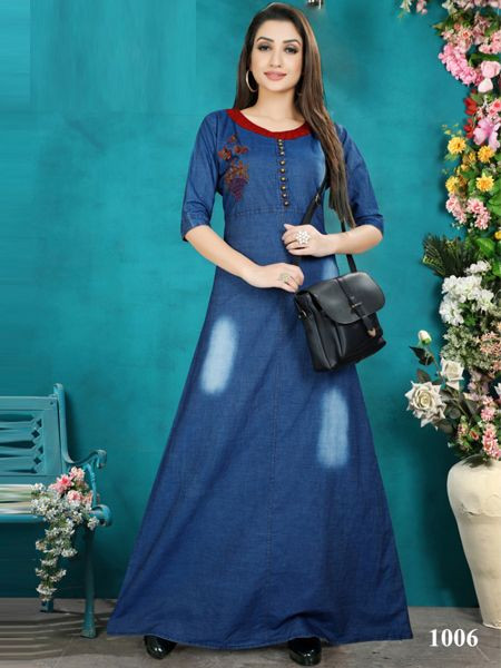 Stylish Blue Denim Kurti