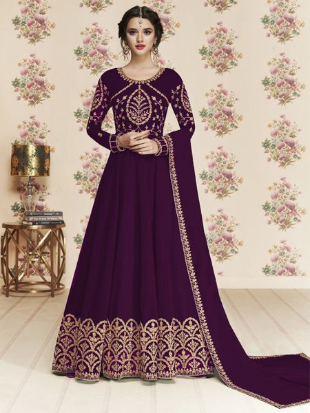 Buy Latest Purple Anarkali Dress Online in India- YOYO Fashion