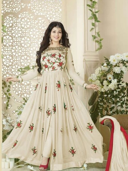 Off White Front Slit Anarkali Dress