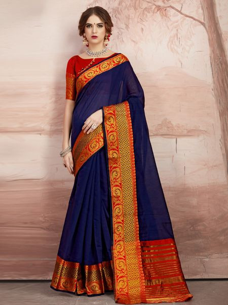 Designer Blue Cotton Silk Saree