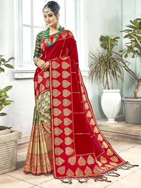 Latest Red Banarasi Silk Saree