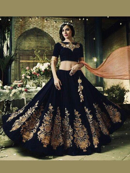 Latest Black Embroidered Lehenga Choli