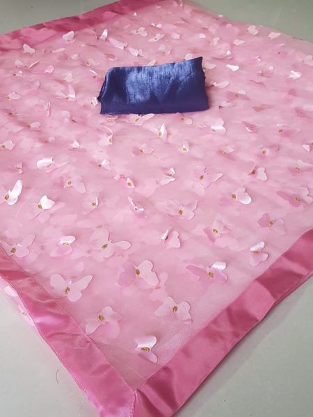 Pink Butterfly Embroidered Organza Saree