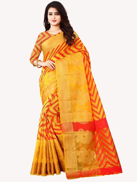 Latest Yellow Cotton Silk Saree