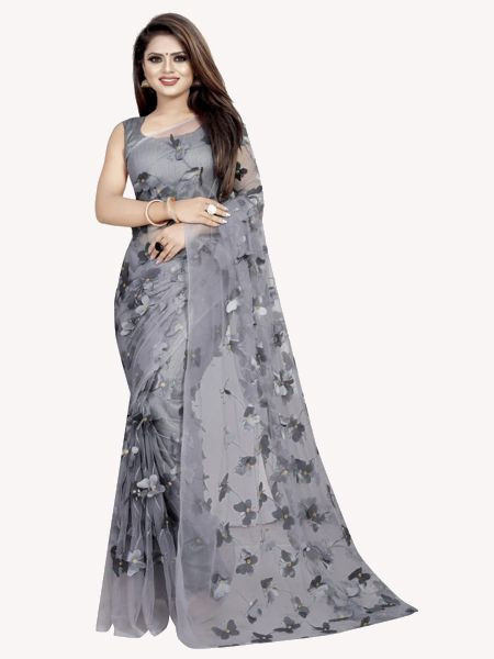 Designer Grey Mono Net Saree
