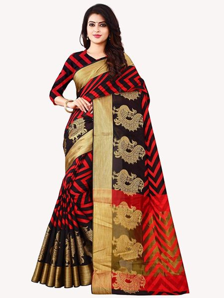 Latest Black Cotton Silk Saree