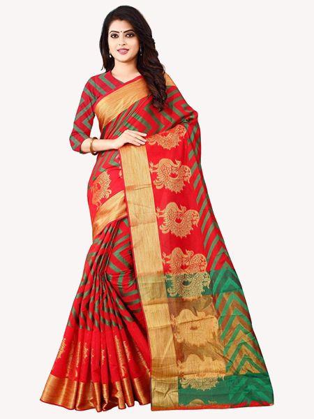 Latest Red Cotton Silk Saree