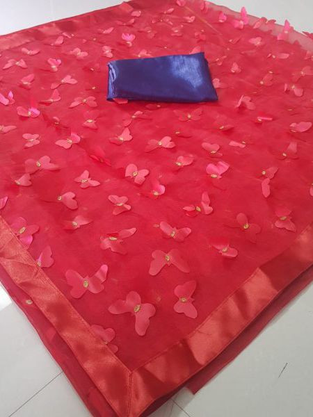 Red Butterfly Embroidered Organza Saree
