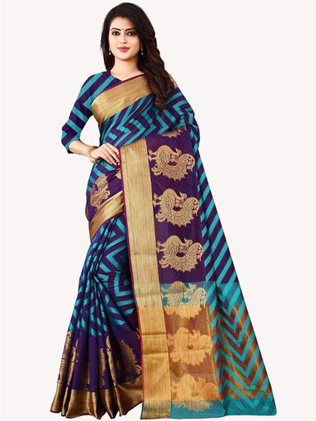 Latest Navy Blue Cotton Silk Saree