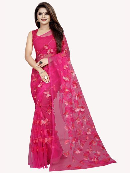 Designer Pink Mono Net Saree