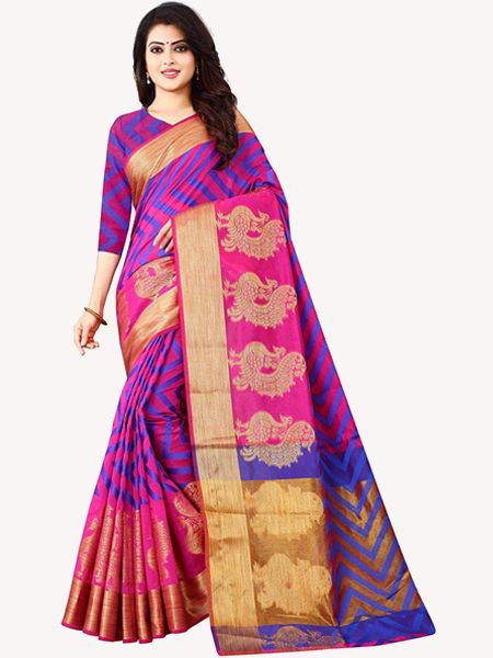 Latest Pink Cotton Silk Saree