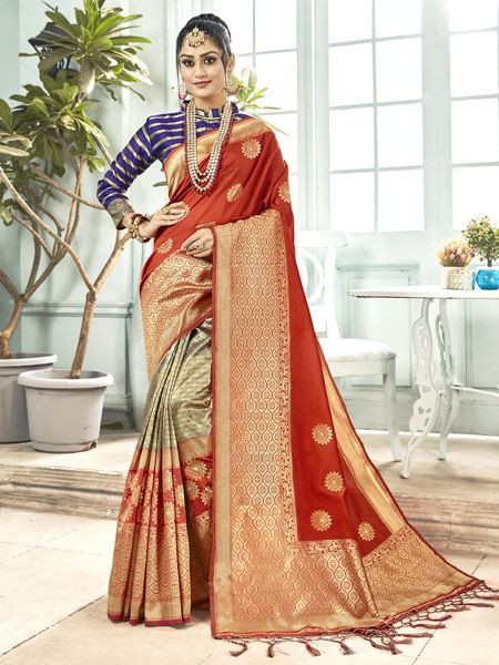 Latest Brown Banarasi Silk Saree