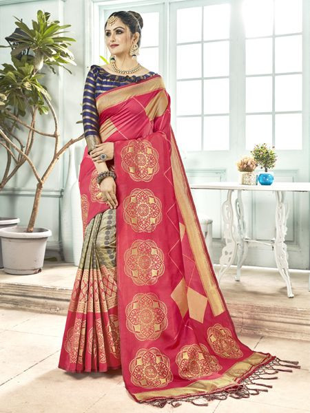 Latest Pink Banarasi Silk Saree