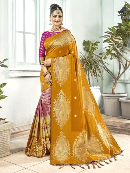 Latest Mustard Yellow Banarasi Silk Saree