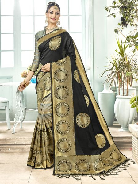 Latest Black Banarasi Silk Saree