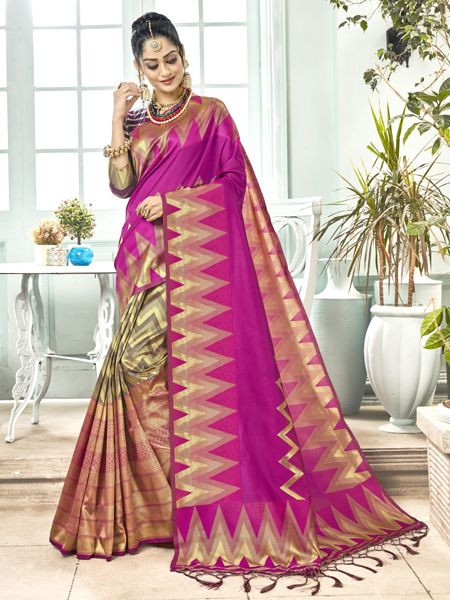 Latest Purple Banarasi Silk Saree