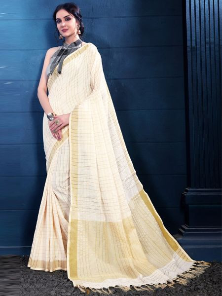 Latest Off White Linen Saree