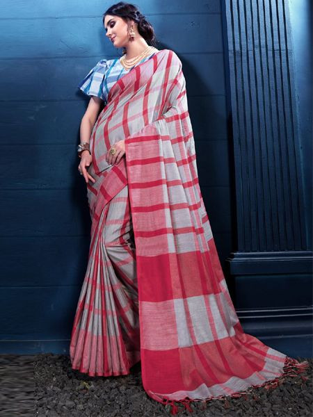 Latest Grey Linen Saree