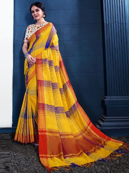 Latest Yellow Linen Saree