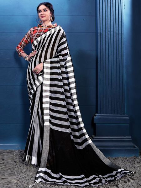 Latest Black and White Linen Saree