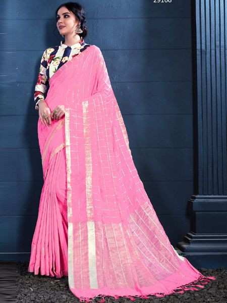 Latest Pink Linen Saree