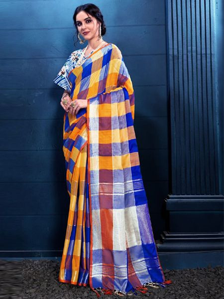 Latest Multi Color Linen Saree