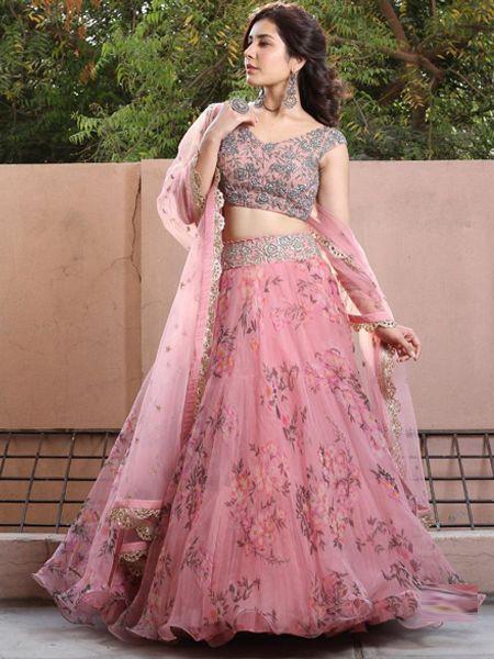 Designer Pink Silk Lehenga Choli