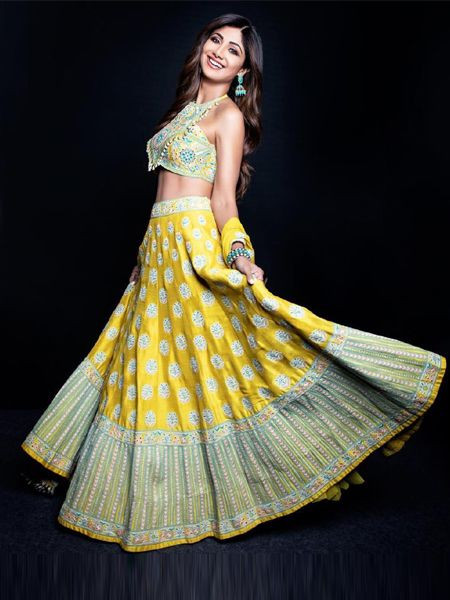 Designer Yellow Silk Lehenga Choli