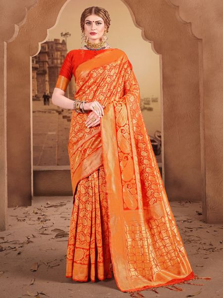 Designer Orange Silk Saree