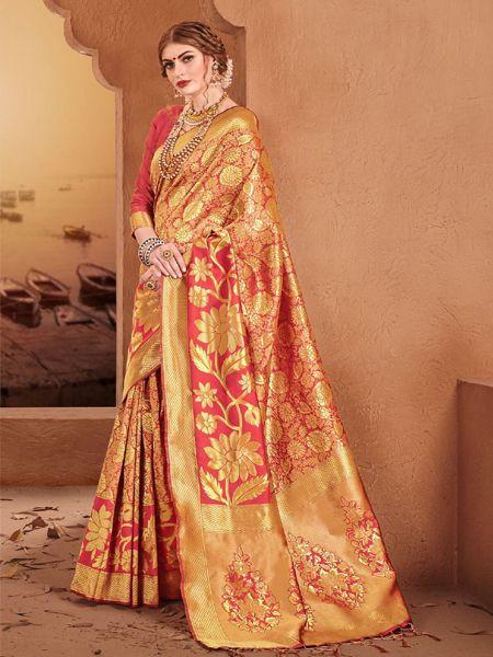 Designer Rust Silk Saree