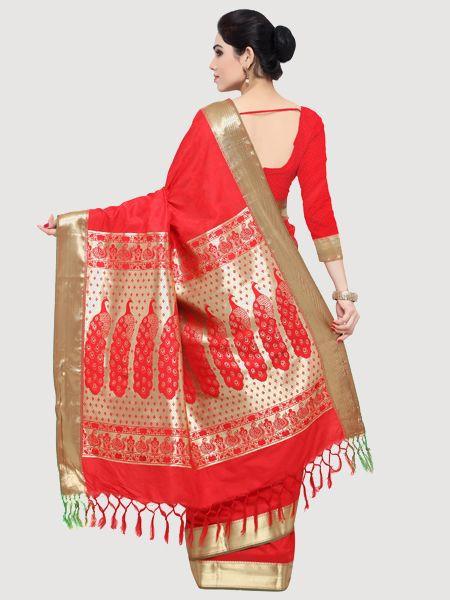 Designer Red Art Silk Saree
