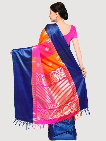 Designer Magenta Cotton Silk Saree