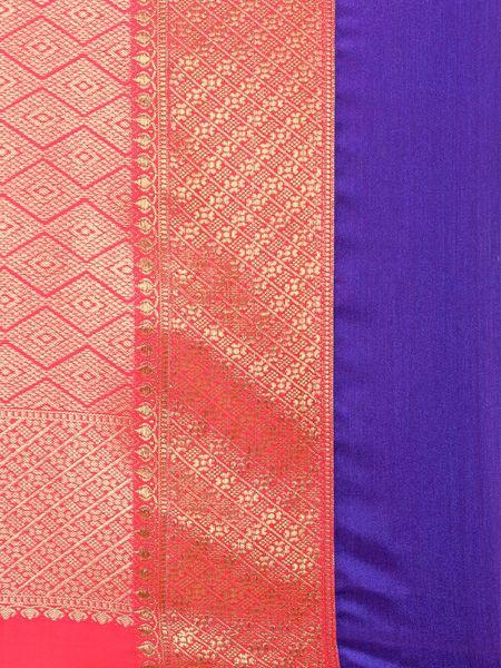 Designer Orange Cotton Silk Saree
