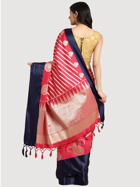 Designer Pink Cotton Silk Saree