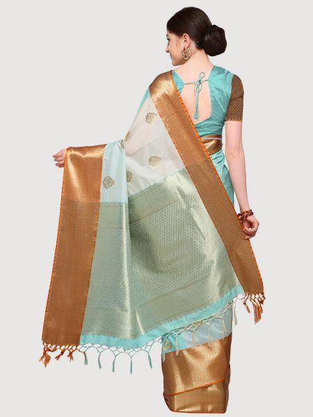 Designer Off White Cotton Silk Saree